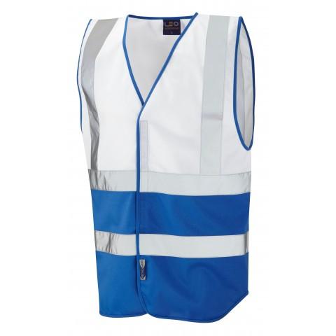 Dual Colour Reflective Waistcoat (Non ISO 20471) White/Royal Dual Colour Waistcoats