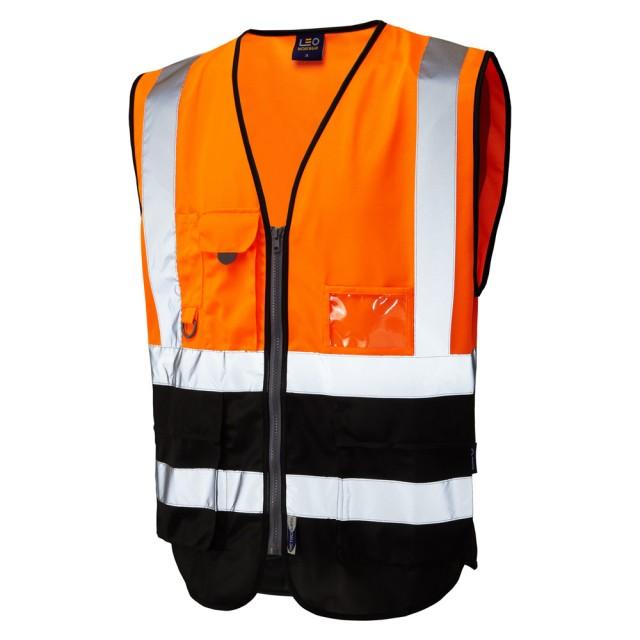 ISO 20471 Class 1 Superior Waistcoat Orange/Black Superior Waistcoats