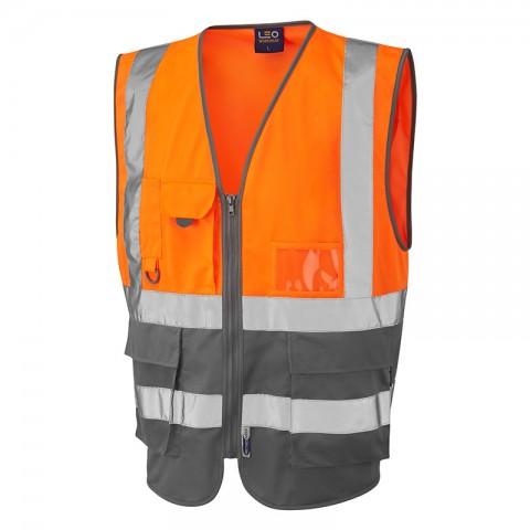 ISO 20471 Class 1 Superior Waistcoat Orange/Grey Superior Waistcoats