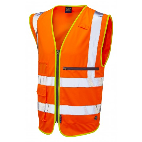 ISO 20471 Class 2 Superior Waistcoat with Tablet Pocket Orange