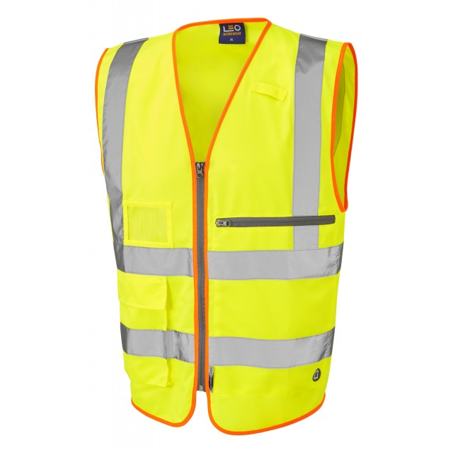ISO 20471 Class 2 Superior Waistcoat with Tablet Pocket Yellow