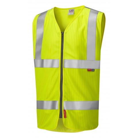 ISO 20471 Class 2 LFS Anti-Static Zip Waistcoat Yellow EN 14116 LFS/Anti Static Waistcoats