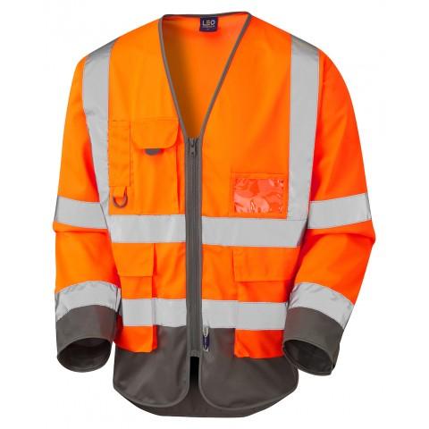ISO 20471 Class 3 Sleeved Superior Waistcoat Orange/Grey Superior Sleeved Waistcoats