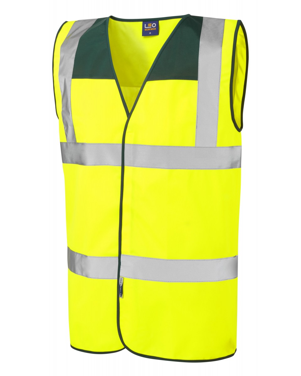 Leo Workwear Rumsam ISO 20471 Class 2 High Visibility Zipped Waistcoat with ID Pocket Hi-Vis Yellow Large