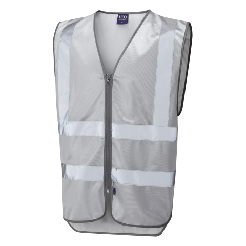 Single Colour Zipped Reflective Waistcoat (Non ISO 20471) Silver Single Colour Waistcoats