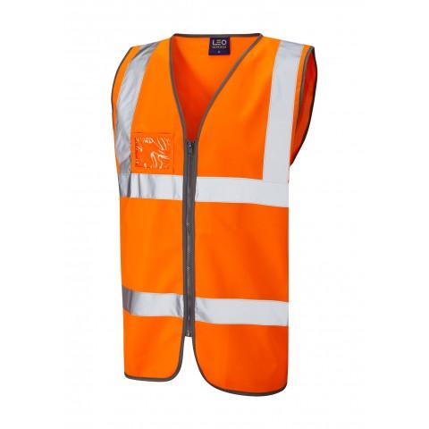 ISO 20471 Class 2 Waistcoat Zip Front & ID Pocket Orange Standard Waistcoats