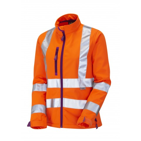 ISO 20471 Class 2 Ladies Softshell Jacket Orange Ladies Softshell Jackets