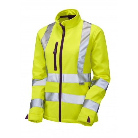 ISO 20471 Class 2 Ladies Softshell Jacket Yellow Ladies Softshell Jackets