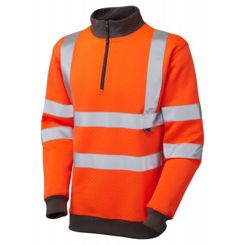 ISO 20471 Class 3 1/4 Zip Sweatshirt Orange Sweatshirts