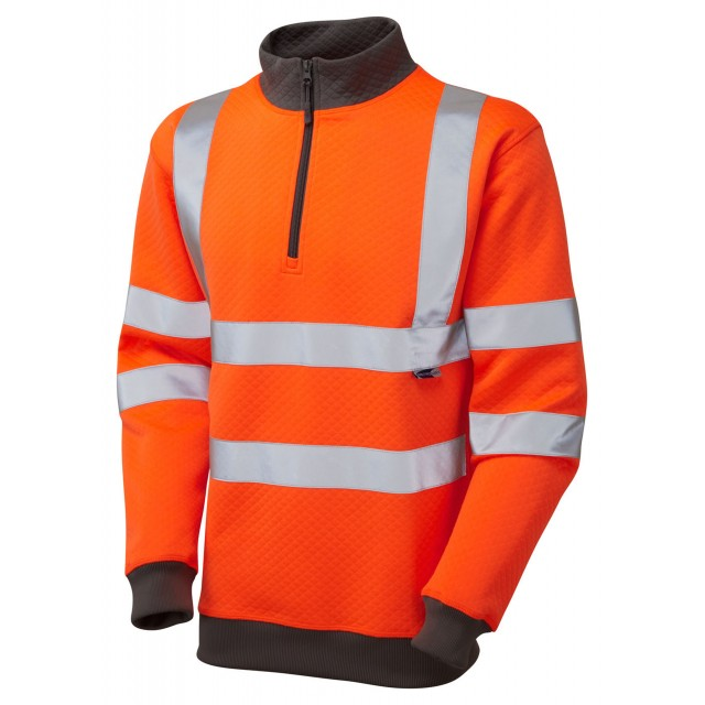 ISO 20471 Class 3 1/4 Zip Sweatshirt Orange Sweatshirts