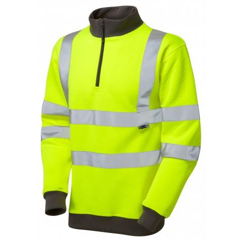 ISO 20471 Class 3 1/4 Zip Sweatshirt Yellow Sweatshirts