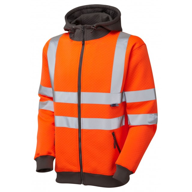 ISO 20471 Class 3 Full Zip Hooded Sweatshirt Orange Sweatshirts