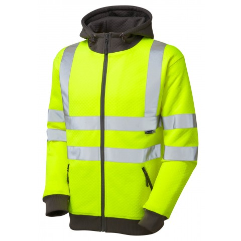 ISO 20471 Class 3 Full Zip Hooded Sweatshirt Yellow Sweatshirts