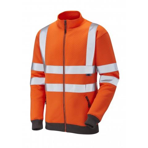 Leo Workwear Saunton SS02 HiVis Full Zip Hoodie Sweatshirt Class 3 Orange SniDir