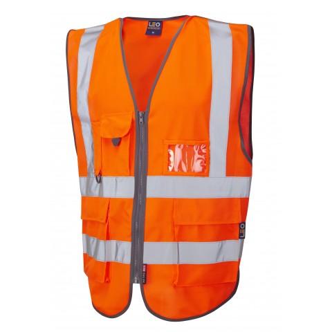 ISO 20471 Class 2  Superior Railway Waistcoat Orange Railway Waistcoats