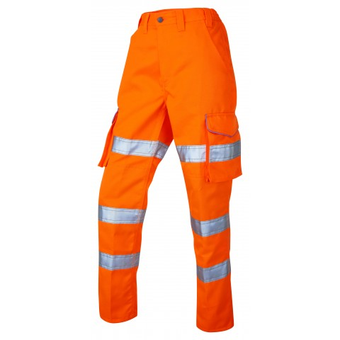 ISO 20471 Class 2 Ladies Poly/Cotton Ladies Cargo Trouser Orange Ladies