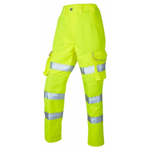 ISO 20471 Class 2 Ladies Poly/Cotton Ladies Cargo Trouser Yellow Ladies