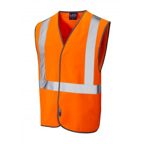 ISO 20471 Class 2 Railway Hook & Loop Waistcoat Orange Railway Waistcoats