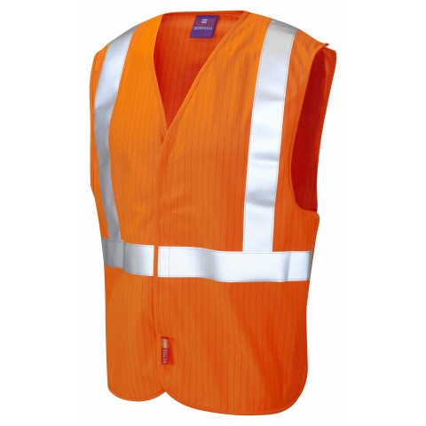 ISO 20471 Class 2 LFS Anti-Static Railway Waistcoat Orange Railway Waistcoats