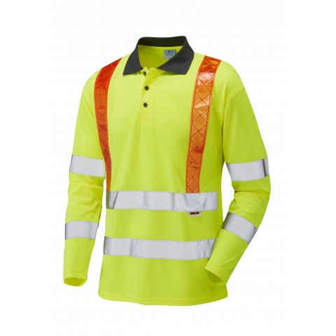 ISO 20471 Class 3 Orange Brace Coolviz Sleeved Polo Shirt Yellow Traffic Management