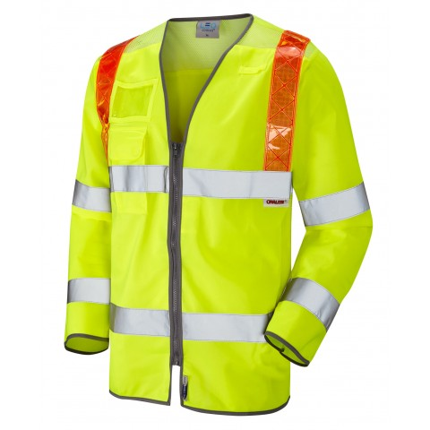 ISO 20471 Class 3 Orange Brace Sleeved Waistcoat Yellow Traffic Management