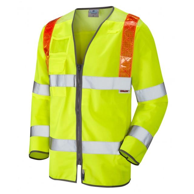 ISO 20471 Class 3 Orange Brace Sleeved Waistcoat Yellow Traffic Management