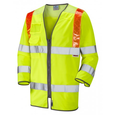 ISO 20471 Class 3 Orange Brace 3/4 Sleeve Waistcoat Yellow Traffic Management