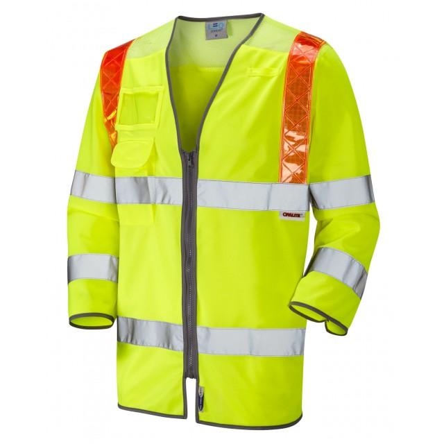 ISO 20471 Class 3 Orange Brace 3/4 Sleeve Waistcoat Yellow Traffic Management