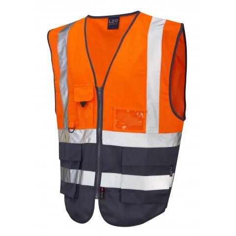 ISO 20471 Class 1 Superior Waistcoat Orange/Navy Superior Waistcoats