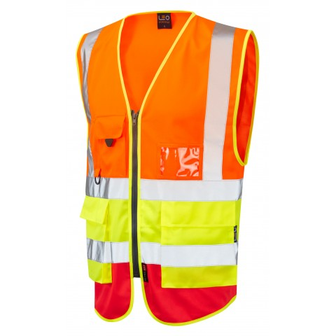 ISO 20471 Class 2 Superior Waistcoat Orange/Yellow/Red Superior Waistcoats