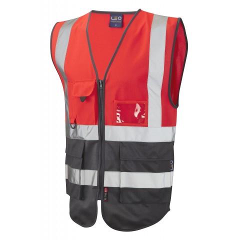 ISO 20471 Class 1 Superior Waistcoat Red/Grey Superior Waistcoats