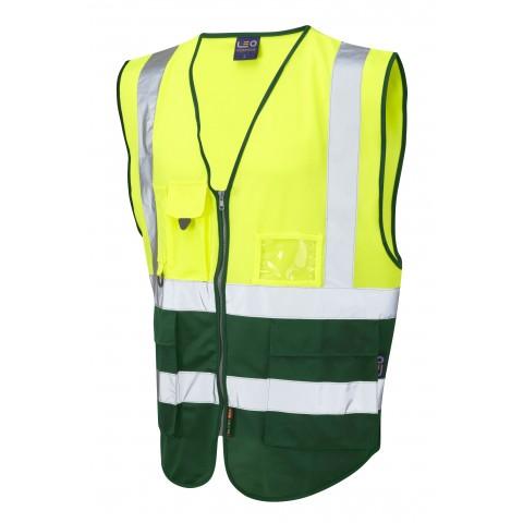ISO 20471 Class 1 Superior Waistcoat Yellow/Bottle Superior Waistcoats