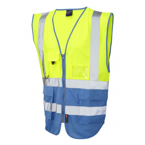 ISO 20471 Class 1 Superior Waistcoat Yellow/Deep Sky Blue Superior Waistcoats