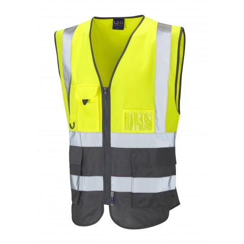 ISO 20471 Class 1 Superior Waistcoat Yellow Grey