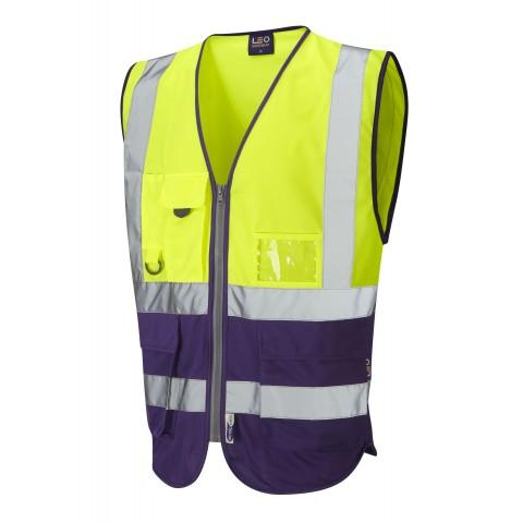 ISO 20471 Class 1 Superior Waistcoat Yellow/Purple Superior Waistcoats