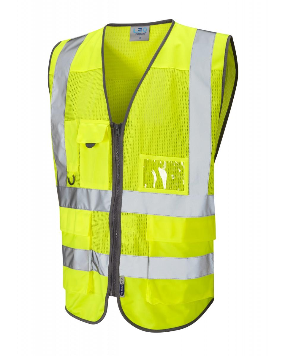 95efecc4f6574 ISO 20471 Class 2 Coolviz Superior Waistcoat Yellow Coolviz Waistcoats