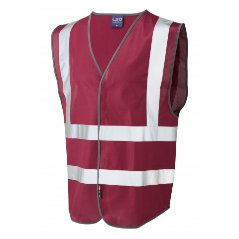 Single Colour Reflective Waistcoat (Non ISO 20471) Maroon Single Colour Waistcoats