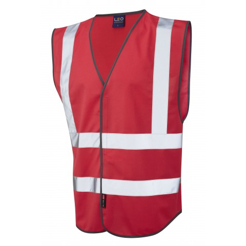 Single Colour Reflective Waistcoat (Non ISO 20471) Red Single Colour Waistcoats