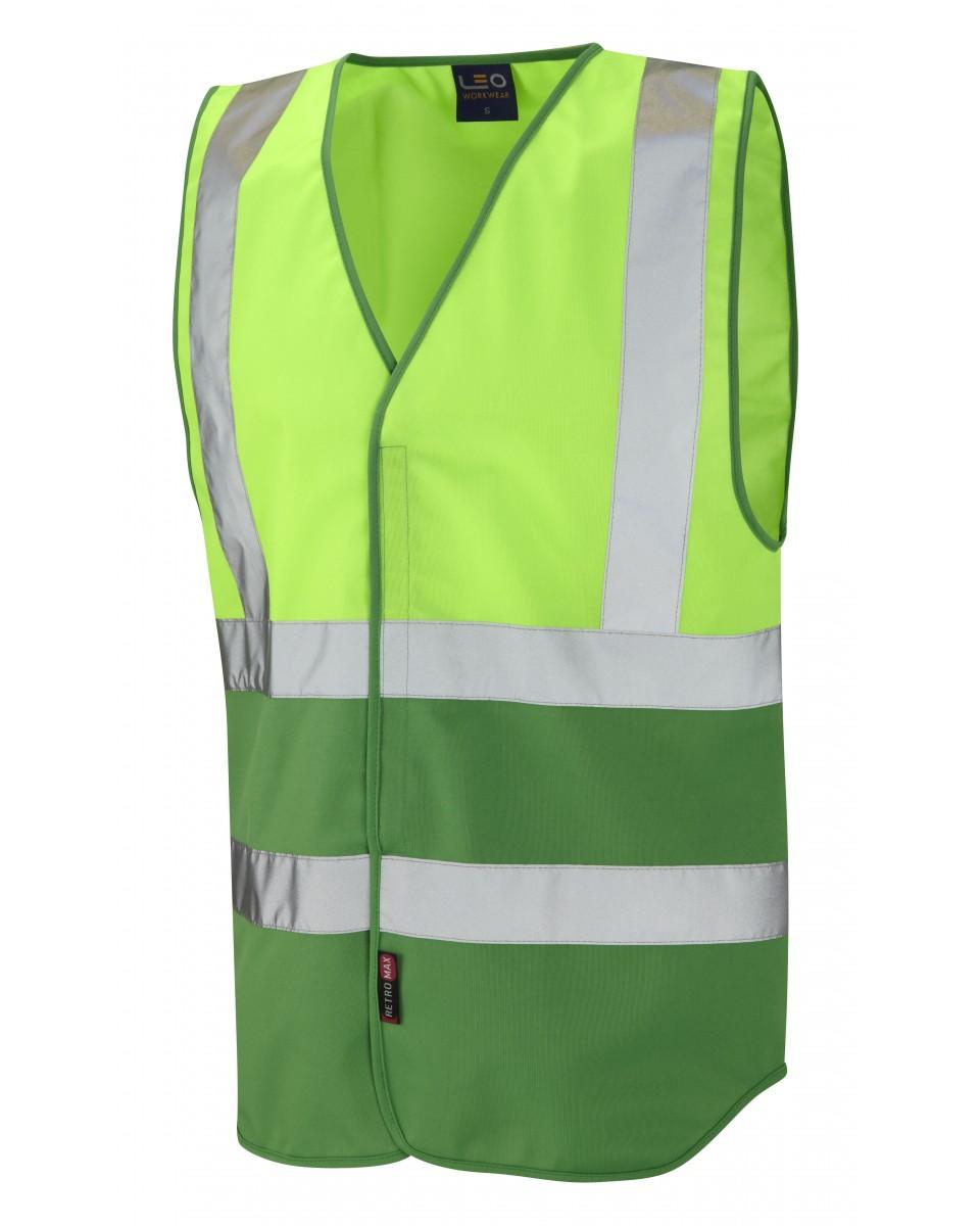 dual colour reflective waistcoat non iso 20471 lime green