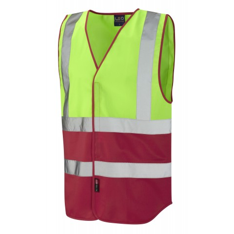 Dual Colour Reflective Waistcoat (Non ISO 20471) Lime/Red Dual Colour Waistcoats