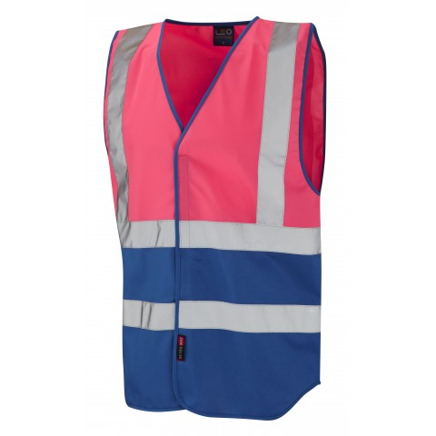Dual Colour Reflective Waistcoat (Non ISO 20471) Pink/Royal Dual Colour Waistcoats