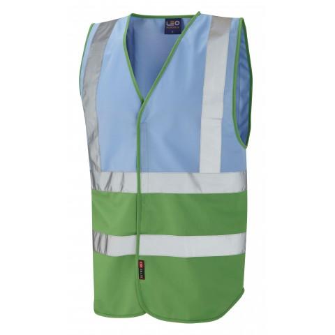 Dual Colour Reflective Waistcoat (Non ISO 20471) Sky/Green Dual Colour Waistcoats