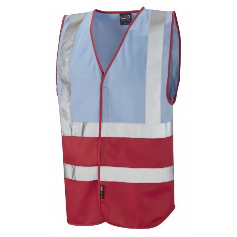 Dual Colour Reflective Waistcoat (Non ISO 20471) Sky/Red Dual Colour Waistcoats