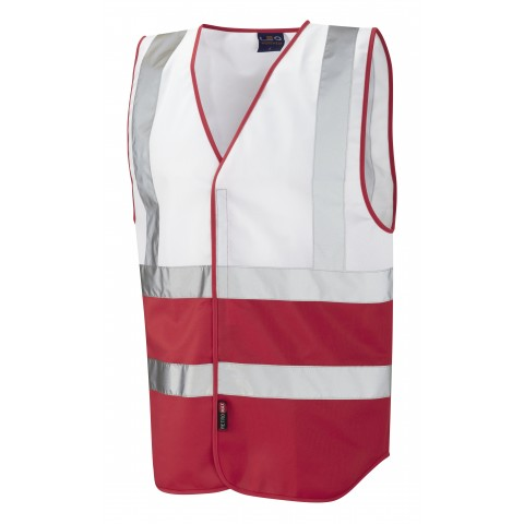 Dual Colour Reflective Waistcoat (Non ISO 20471) White/Red Dual Colour Waistcoats