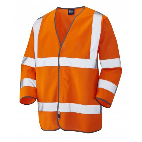 ISO 20471 Class 3 3/4 Sleeve Waistcoat Orange Sleeved Waistcoats