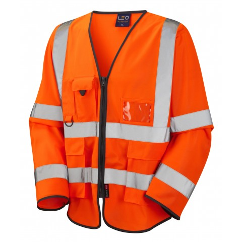 ISO 20471 Class 3 Sleeved Superior Waistcoat Orange Superior Sleeved Waistcoats