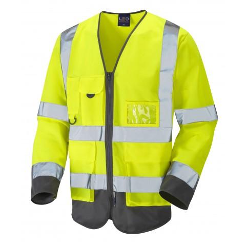 ISO 20471 Class 3 Sleeved Superior Waistcoat Yellow/Grey Superior Sleeved Waistcoats