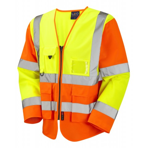 ISO 20471 Class 3 Sleeved Superior Waistcoat Yellow/Orange Superior Sleeved Waistcoats