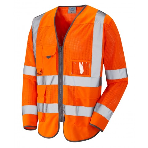 ISO 20471 Class 3 Coolviz Sleeved Superior Waistcoat Orange Superior Sleeved Waistcoats