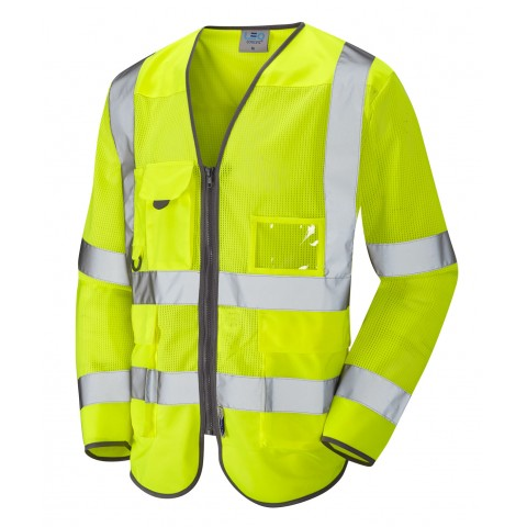 ISO 20471 Class 3 Coolviz Sleeved Superior Waistcoat Yellow Superior Sleeved Waistcoats
